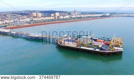 Amazing Aerial View Over Brighton Pier And Beach In England - Drone Footage -aerial Photography