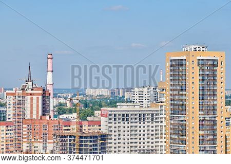 Voronezh, Russia - 22.08.2019 - Voronezh City Downtown Cityscape. Aerial View From Skyscraper. Busin