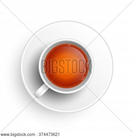 Realistic 3d Cup Of Hot Aromatic Freshly Brewed Drink Black Tea. A Teacup Top View Isolated On White