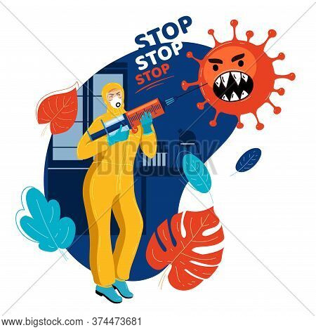 Medical Officer Threatens Virus With Syringe With Vaccine. Stop Pandemic. Scientist Armed With Syrin