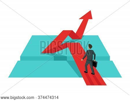 Businessman Overcomes An Obstacle On Red Arrow Up - Creative Illustration Of Business Strategy, Chal