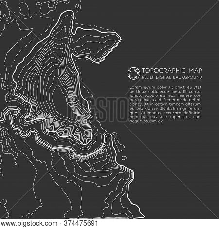 Map Line Of Topography. Vector Abstract Topographic Map Concept With Space For Your Copy