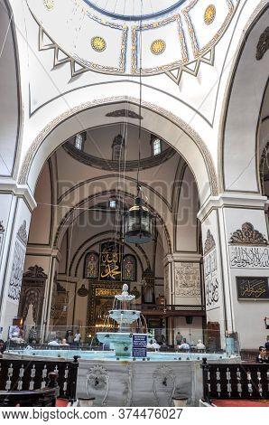 Bursa, Turkey - 25 June 2011: An Interior View Of Great Mosque Ulu Cami In Bursa, Turkey. Great Mosq