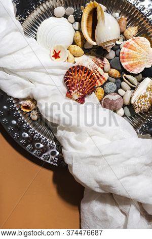 Vintage Tray, Gauze, Sea Shells On Warm Ochre, Beige Background. Summer Trendy Boho Flat Lay. Creati