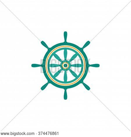 Fantasy Blue Helm Isolated On White. Ship And Boat Steering Wheel Sign.