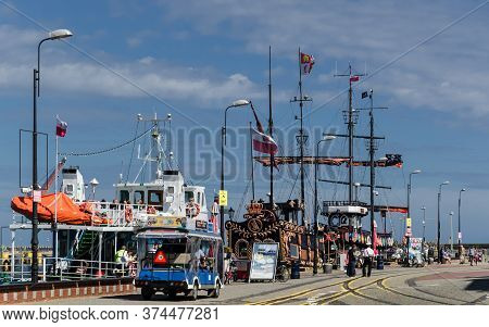Kolobrzeg, West Pomeranian / Poland - 2020: Recreational Vessels Are Waiting For Holiday Tourists At
