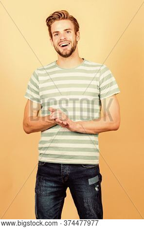 Male Fashion And Beauty. Perfect Look Of Muscular Man. Happy Man In Trendy Shirt. Guy Fashion Model.