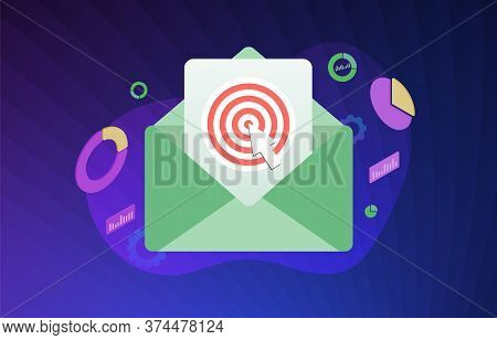 Inbound E-mail Marketing Vector Illustration Concept. Advertisement Business Strategy With Mail Enve