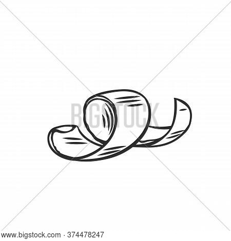 Chocolate Shaving Outline Icon. Curl, Spiral, Confectionary Ingredient Vector Illustration. Hand Dra