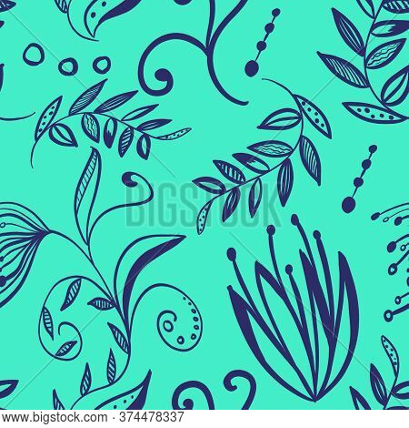 Seamless Floral Pattern With Simple Doodle Flowers, Plants, Branches, Leaves On Neon Blue Background