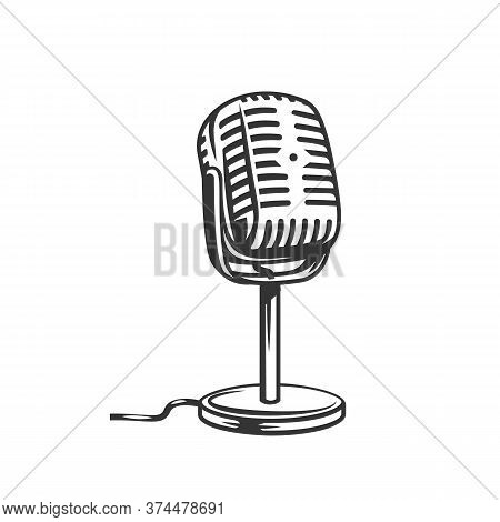 Retro Microphone Outline Icon. Monochrome Mic Vector Illustration.