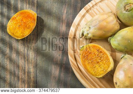 Fruit Of The Cactus (opuntia Ficus Indica) Wooden Table