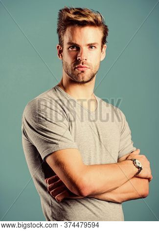 Man Well Groomed Handsome Hipster Wrist Watch. Expensive Accessory. Confident Macho Luxurious Watch