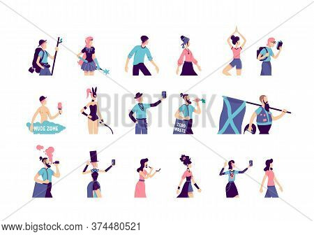 Subculture Flat Color Vector Faceless Characters Set. Male Skater. Hipster With Beard. Woman In Boho