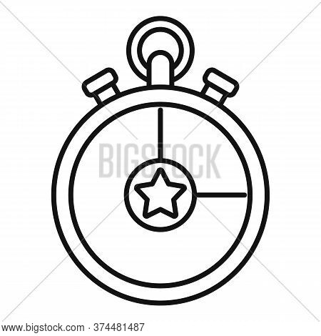 Video Game Stopwatch Icon. Outline Video Game Stopwatch Vector Icon For Web Design Isolated On White