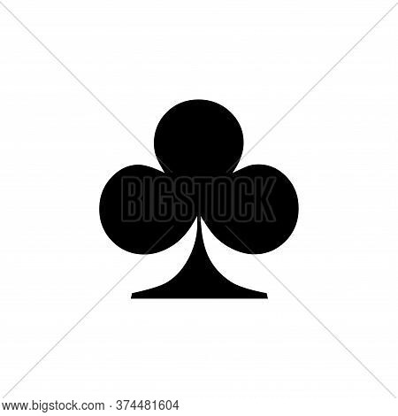 Club Icon Of Playing Card Icon On White Background. Flat Style. Club Icon For Your Web Site Design,