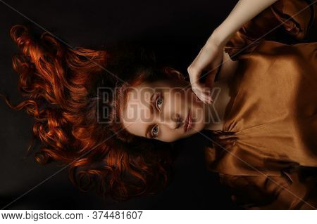 Beautiful Mysterious Ambiguous Original Conceptual Art Portrait Of Middle-aged Red-haired Woman On A