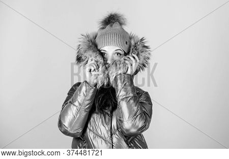 Feeling Frosty. Happy Winter Holidays. Xmas Coming. Girl In Beanie Hat. Faux Fur Fashion. Flu And Co