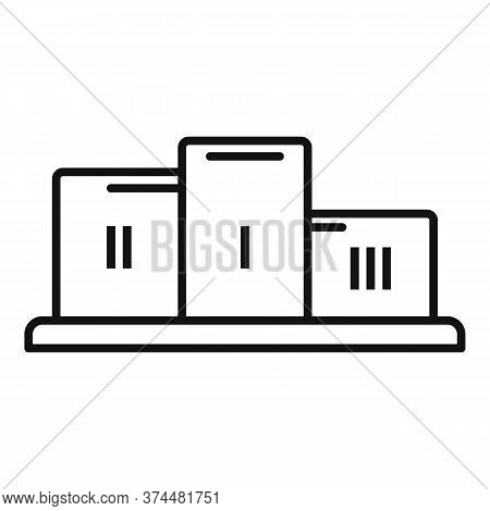 Gamification Podium Icon. Outline Gamification Podium Vector Icon For Web Design Isolated On White B