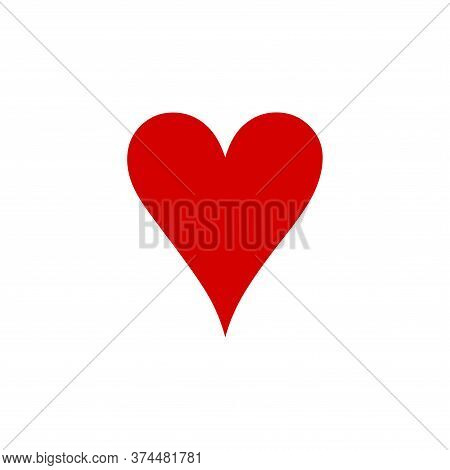 Heart Icon Of Playing Card Icon On White Background. Flat Style. Heart Icon For Your Web Site Design