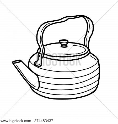 Kettle For Hiking And Traveling Metal. Kitchen Items, Household Utensils, Metal Utensils For The Tea