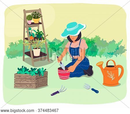 Gardener Transplants Plants And Flowers In The Garden.an Agricultural Worker Plants Seedlings.the Gi