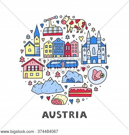 Doodle Colored Austria Icons Including Vienna Cathedral, Train, Chalet House, Church, Alpine Mountai