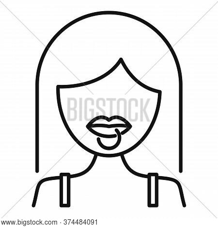 Student Lips Piercing Icon. Outline Student Lips Piercing Vector Icon For Web Design Isolated On Whi