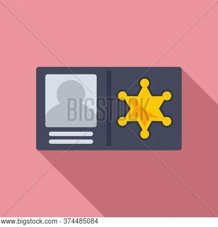 Policeman Id Wallet Icon. Flat Illustration Of Policeman Id Wallet Vector Icon For Web Design