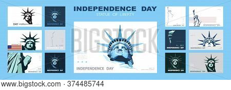 Independence Day Portrait Statue Of Liberty, Poster Presentation. Set Of Blue Flat Design Templates.