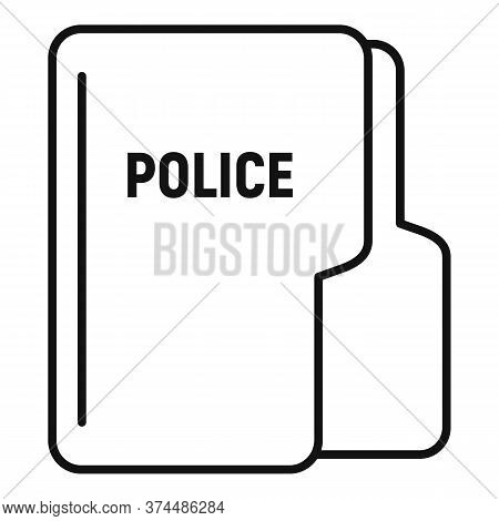 Police Station Folder Icon. Outline Police Station Folder Vector Icon For Web Design Isolated On Whi