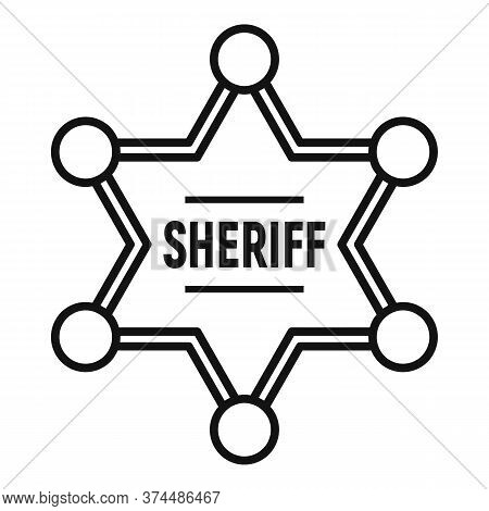 Sheriff Gold Star Icon. Outline Sheriff Gold Star Vector Icon For Web Design Isolated On White Backg