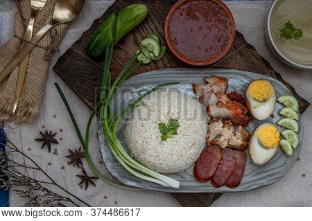 Red Pork With Rice (kao Moo Dang) : Thai Style Red Barbecue Pork, Duck Egg And Crispy Pork Belly, Sl