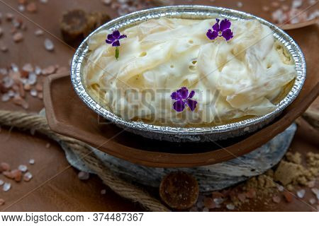 Fusion Thai Sweet Dessert : Toddy Palm Cheese Cake On Beautiful Background. One Piece, Delicious Sea