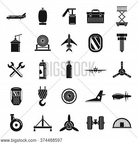 Aviation Repair Icons Set. Simple Set Of Aviation Repair Vector Icons For Web Design On White Backgr