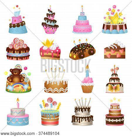 Cake Birthday Icons Set. Cartoon Set Of Cake Birthday Vector Icons For Web Design