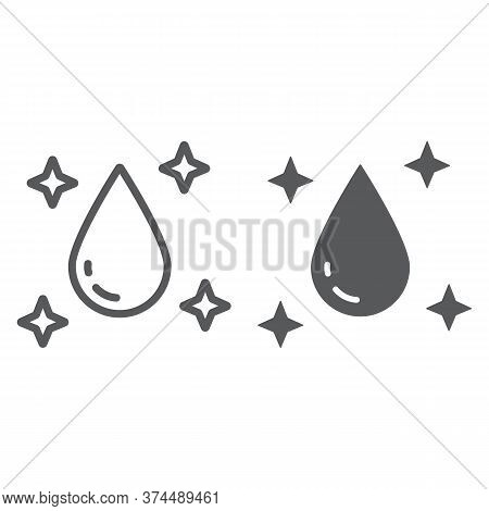 Purity Line And Glyph Icon, Laundry And Clear, Water Drop Sign, Vector Graphics, A Linear Pattern On