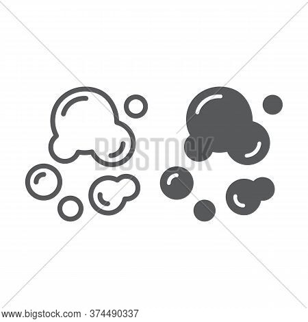Soap Bubbles Line And Glyph Icon, Laundry And Wash, Water Bubble Sign, Vector Graphics, A Linear Pat