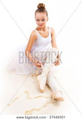 Ballerina. Pretty Ballet Dancer Wearing Pointes. Ballet Shoes