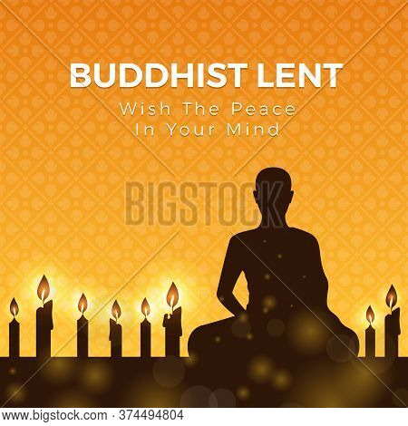 Buddhist Lent Day With Silhouette Meditation And Candle Light On Yellow Orange Flower Cross Texture