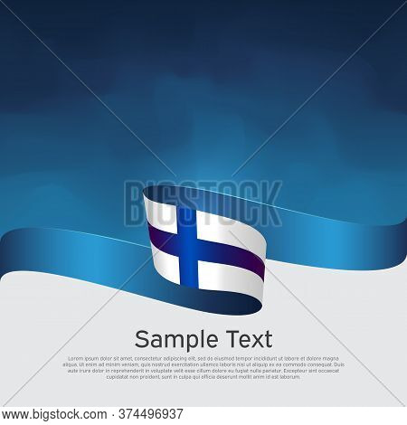 Background With Flag Of Finland. National Finnish Poster. Finland Flag With Wavy Ribbon On A Blue Wh