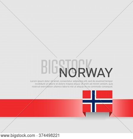Colors Of Norway Flag Ribbon On A White Background. Norway Flag Background. Business Booklet. State
