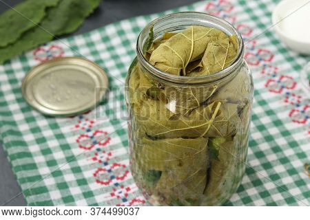 Marinated Cucumbers In Grape Leaves In Jar For The Winter With Garlic And Dill, Preparatory Process