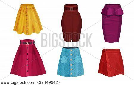 Different Skirt Models With Flared Skirt And Tube Skirt Vector Set