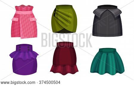 Different Skirt Models With Flared Skirt And Wrap Skirt Vector Set