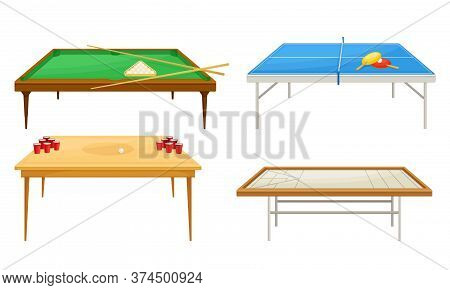 Tables For Board Games With Tennis Table And Beer Pong Table Vector Set