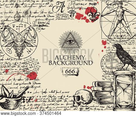 Alchemy Background In Vintage Style. Artistic Illustration On Alchemical Theme With Black Hand-drawn