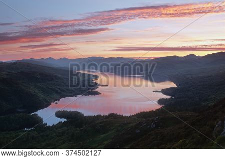 Mountain Lake At Sunset. Loch Katrine. Loch Lomond And The Trossachs National Park. Scotland