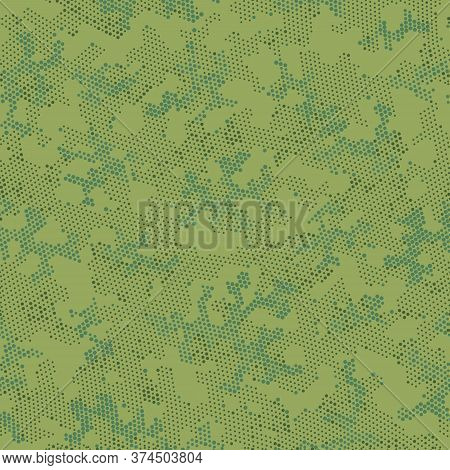 Khaki Repeated Artistic Camouflage, Graphic Pattern.  Seamless Vector Beige Circle, Camo Camo. Green