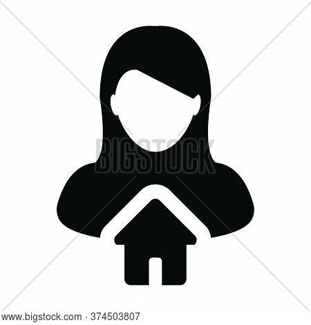 House Icon Vector With Person Profile Avatar Female User Symbol In A Flat Color Glyph Pictogram Illu
